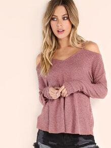 T-shirt tricoté manche longue épaules nues - rose