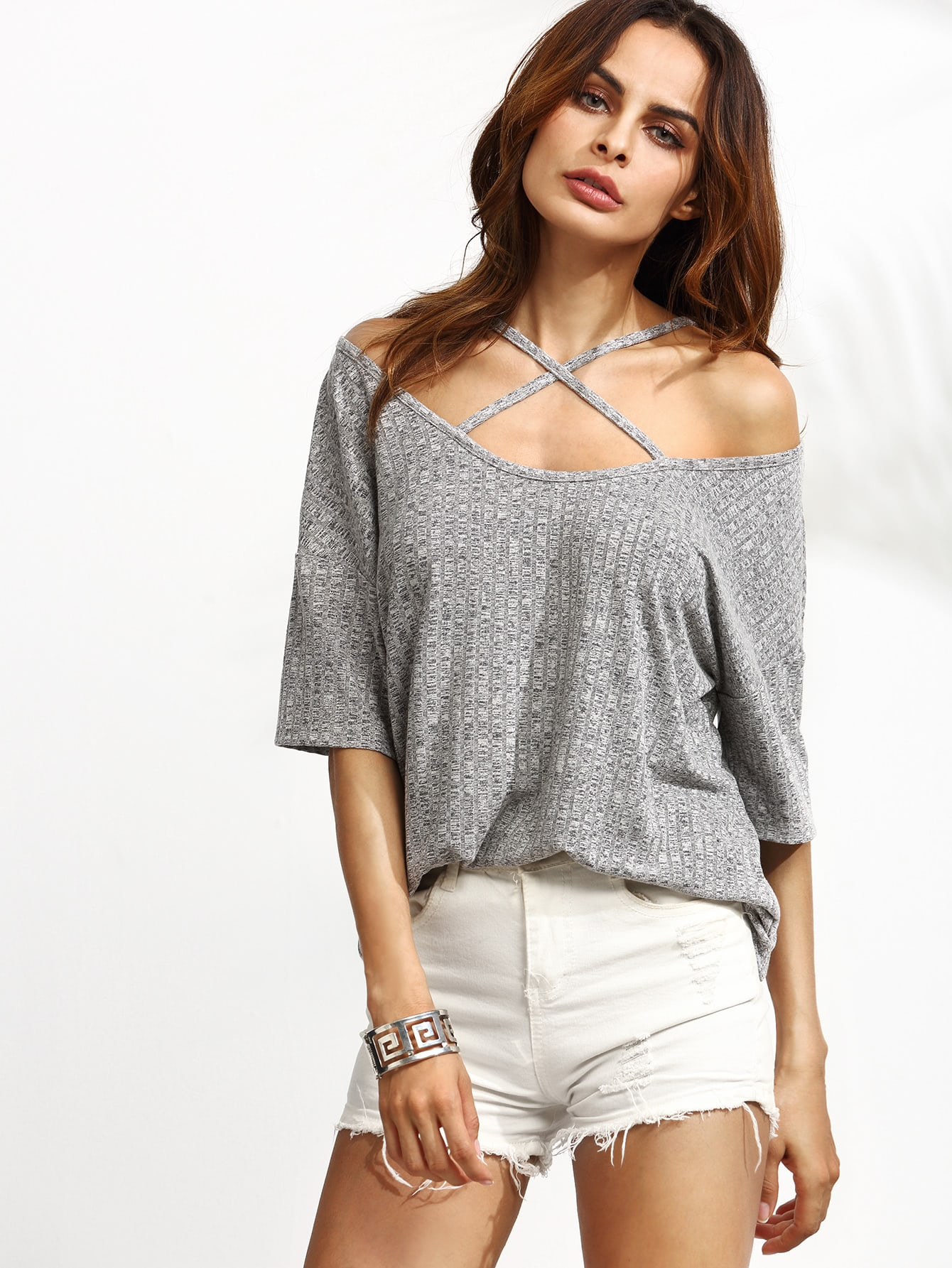 Grey Ribbed Criss Cross Front Cold Shoulder T-shirt