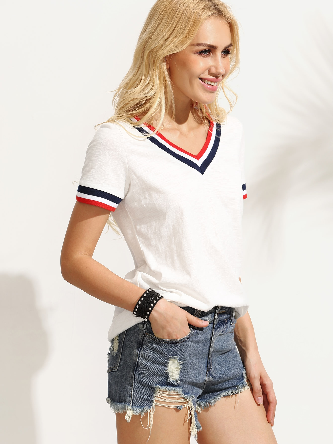 White Striped Trim V Neck Short Sleeve T Shirt