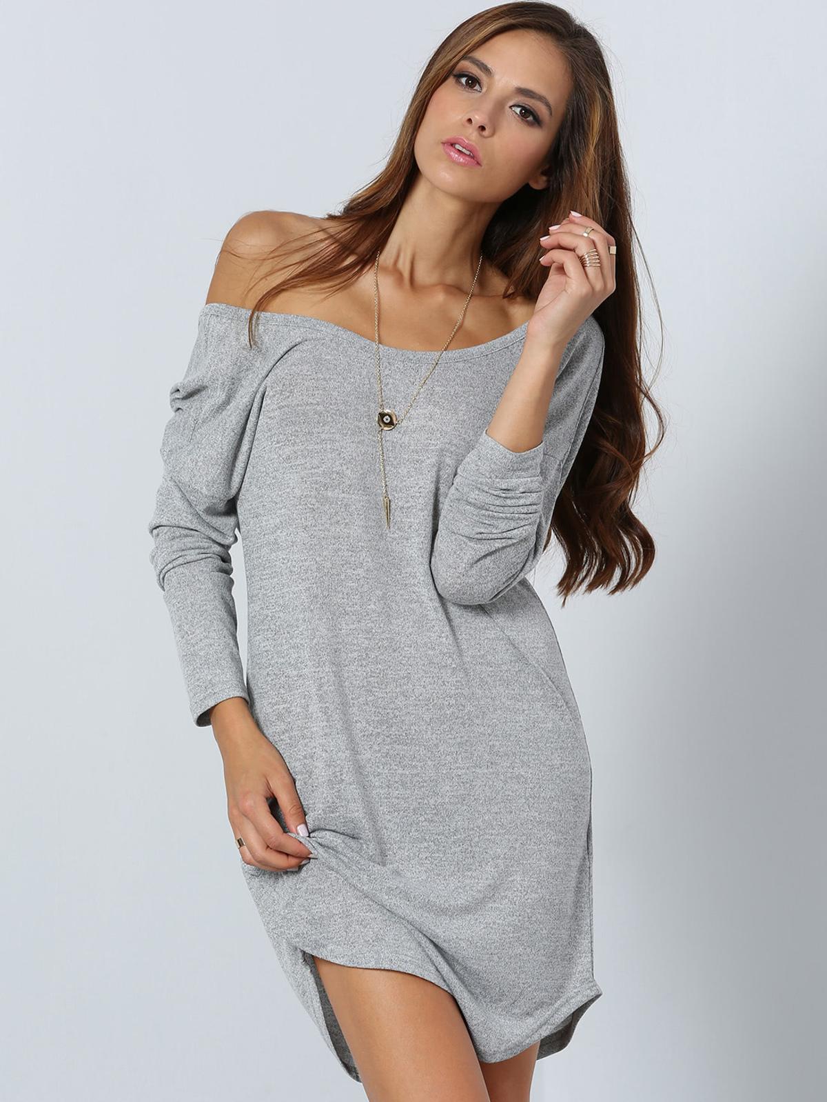 灰色 長袖 V 背 洋裝