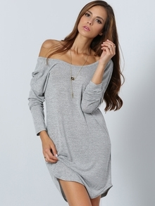 Grey Long Sleeve V Back Dress