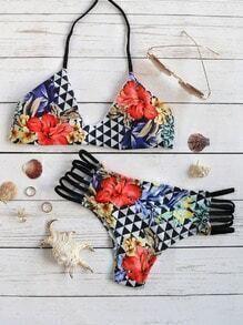 Set bikini halter con estampado floral y aberturas