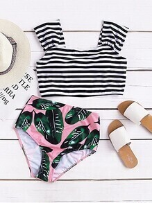 Striped And Leaf Print High Waist Mix & Match Swimwear