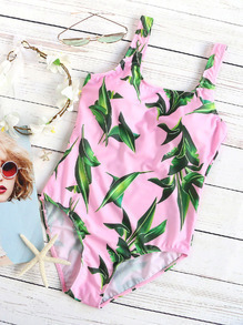 Pink Leaf Print One-Piece Swimwear