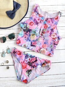 Floral Print Zipper Up Tankini Set