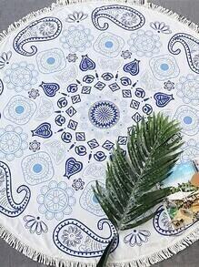 Manta playera redonda con estampado paisley ribete con flecos - blanco
