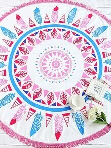 Feather Print Fringe Trim Round Beach Blanket