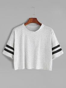 Grey Dropped Shoulder Seam Varsity Striped Crop T-shirt