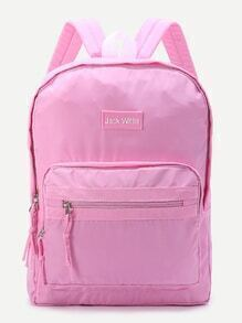 Pink Zipper Detail Canvas Backpack