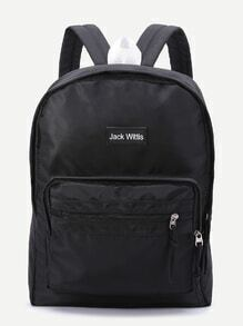 Black Zipper Detail Canvas Backpack