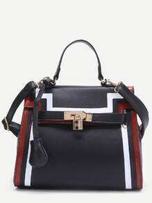 Black Striped Trim PU Shoulder Bag
