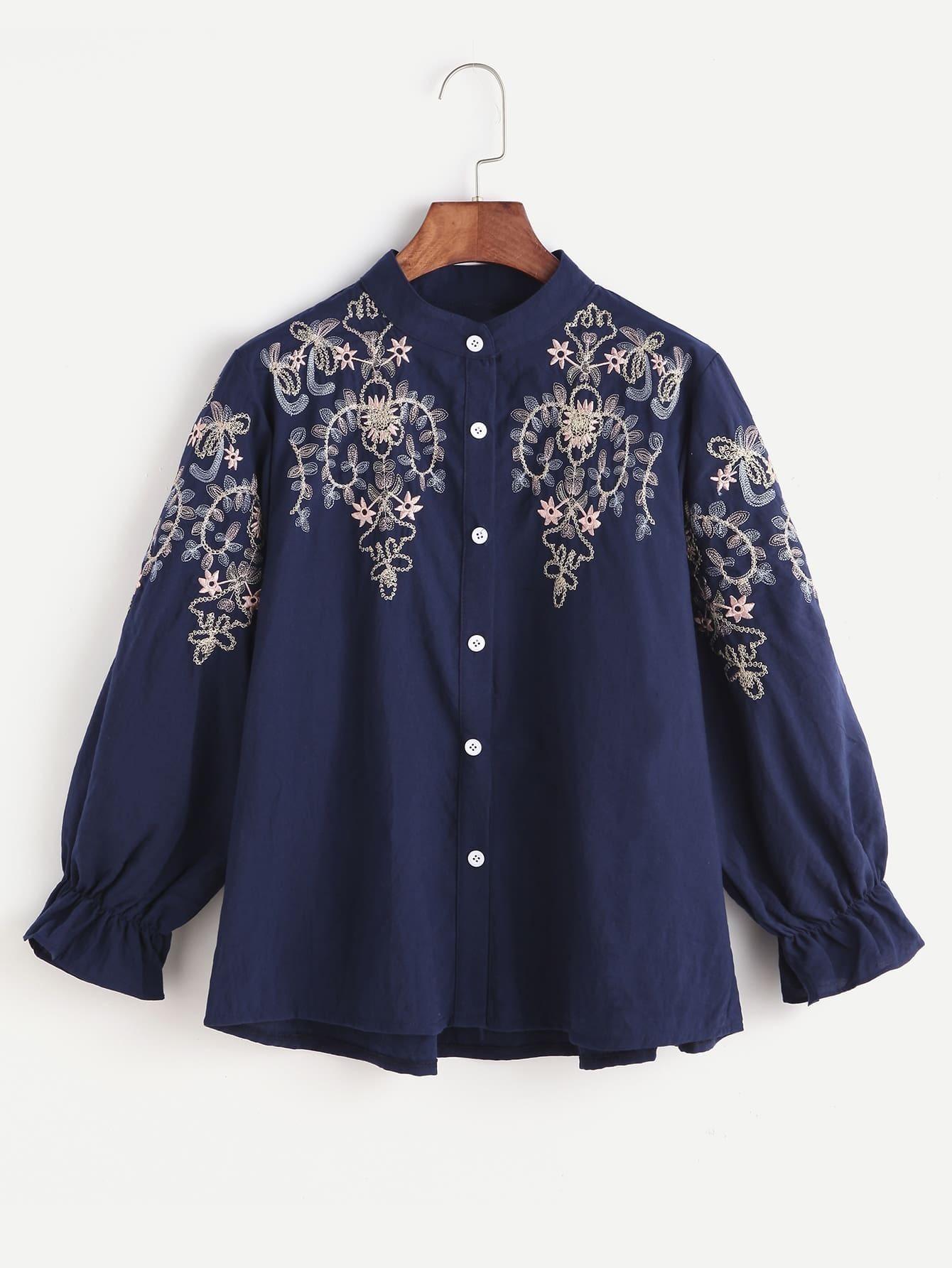 Navy flower embroidered shirred cuff shirtfor women romwe