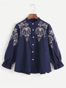 Navy Flower Embroidered Shirred Cuff Shirt