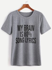 Heather Grey Slogan-Druck-T-Shirt