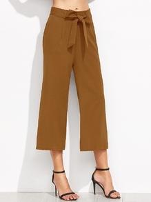 Pantalones anchos con cordón - marrón