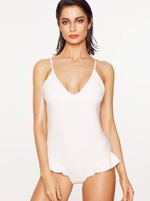 Blanc Ruffle design Low Back One-Piece Maillots de bain