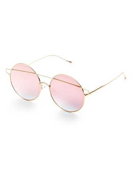 Pink Double Bridge Round Sunglasses