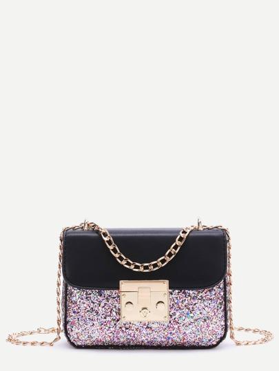 Sequin Detail PU Chain Bag