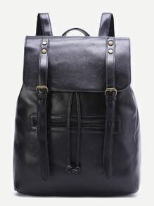 Black Double Buckle PU Backpack