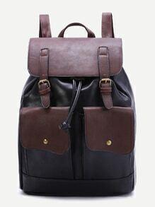 Image en noir et café Drawstring Backpack Avec Pocket avant