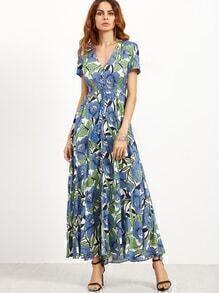 Flower Print V Neck Button Drawstring Elastic Waist Dress