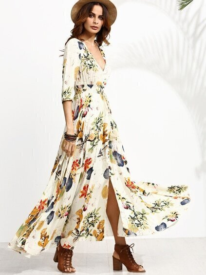 Floral Print Deep V Neck Drawstring Button Dress