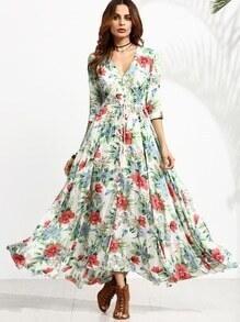 Vestido manga media con estampado floral