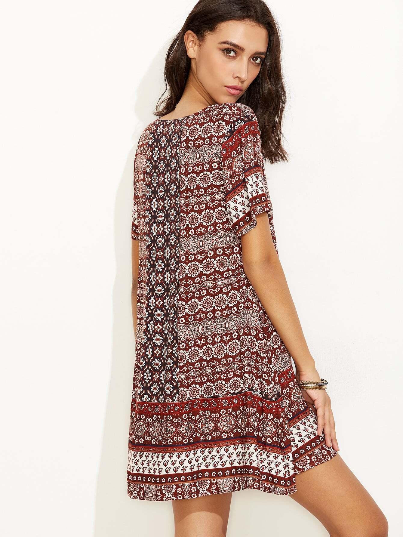 robe droite vintage imprime manche courte multicolore With robe droite manche courte
