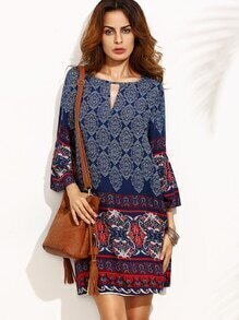 Tribal Print Cut Out Three Quarter Sleeve Shift Dress