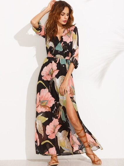 Floral Print V Neck Split Side Long Sleeve Dress