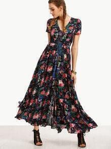 Print In Black Ruffle Hem Long Dress