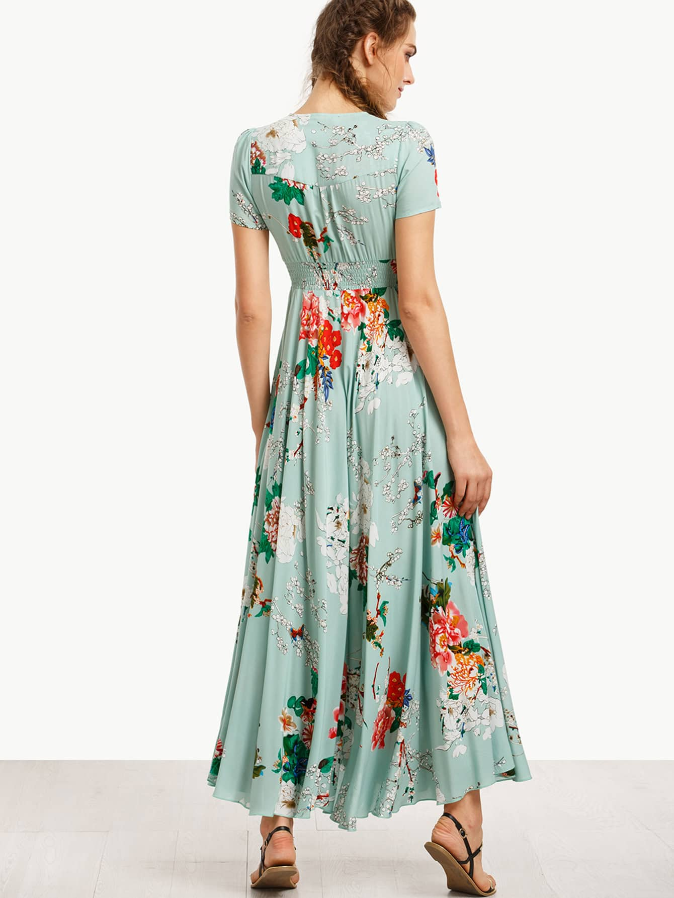 robe longue imprim fleuri manche courte french romwe. Black Bedroom Furniture Sets. Home Design Ideas