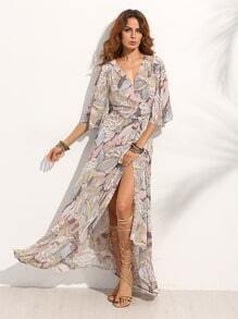 Maxi Kleid mit wickel vorne -bunt