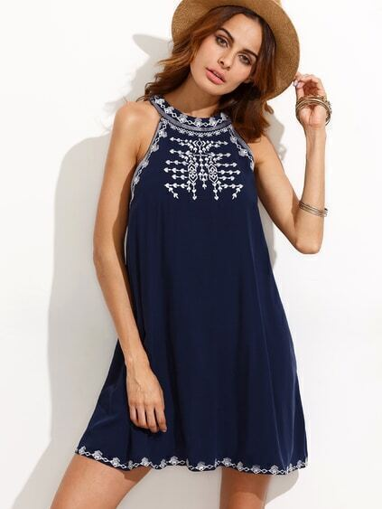 Navy Embroidered Cutout Tie Back Sleeveless Dress
