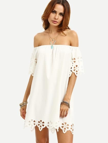 White Cutout Off The Shoulder Shift Dress