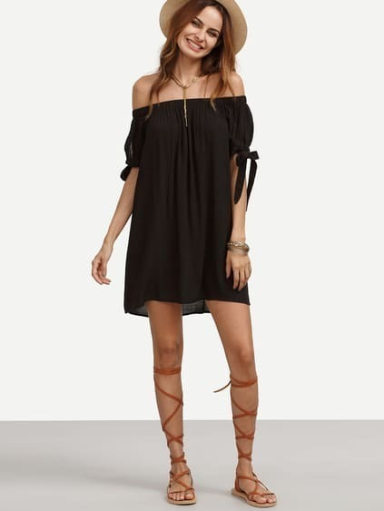 Black Off The Shoulder Tie Cuff Shift Dress