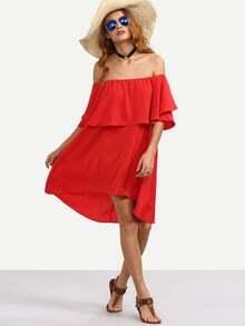 Robe asymétrique épaule dénudée - rouge