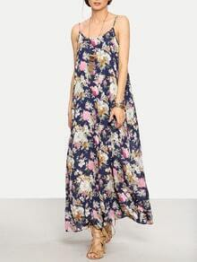 Multicolor Floral Spaghetti Strap Maxi Dress
