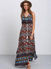 Multicolor Print V Neck Split Side Maxi Dress