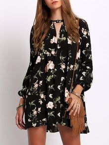 Black Lantern Sleeve Floral Print Shift Dress