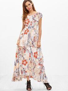 Robe imprimé floral taille haut de ruché ourlet -multicolore