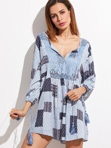 Blue Tribal Print Crochet Front Tassel Tie Neck Dress