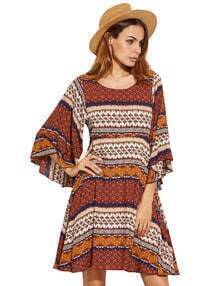Multicolore imprimé tribal manches volants une ligne de robe