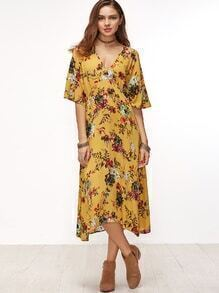 Yellow Floral Surplice Front Elbow Sleeve Dress