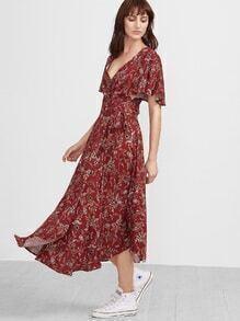Red Florals V-Ausschnitt Vintage Maxi-Kleid