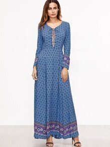 Blue Tribal Print Lace Up Maxi Dress