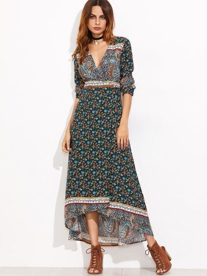 Dark Green Paisley Print Surplice Front High Low Dress
