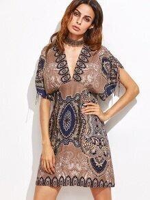 Light Coffee Tribal Print Dress With Choker Detail