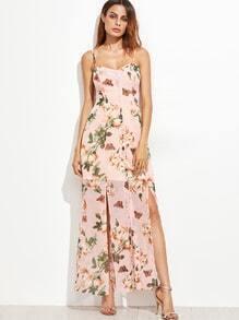 Robe haute culottes brodé floral à bretelles -rose