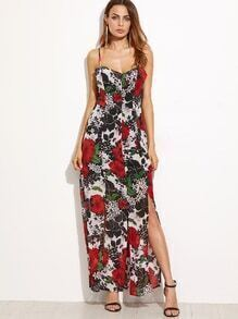 Black Floral Spaghetti Strap Split Dress